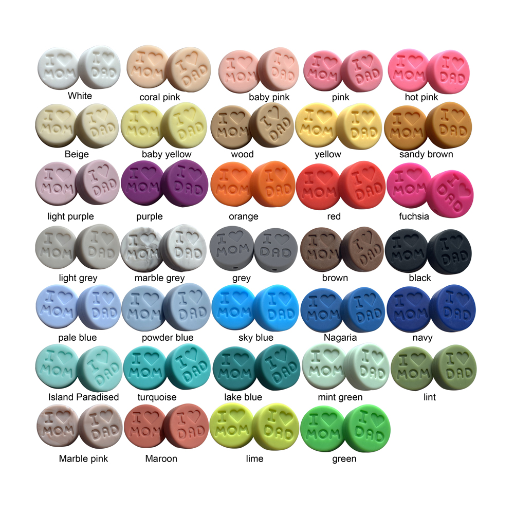 """100pc/lot Silicone Beads """"I Love Mom/DAD"""" Round Teething Beads Food Grade Baby Teether DIY Pacifier Clip Chain Free Shiping"""