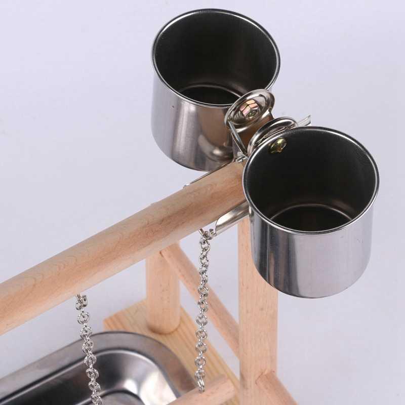 ホット販売オウム木スタンド活動センターラダースイングトレイカップパーチ鳥ラック