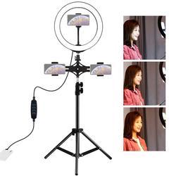 PULUZ Dual Phone Brackets Horizontal Holder + 1.1m Tripod Mount + 10 inch 26cm LED Ring Vlogging Video Light Live Broadcast Kits