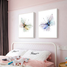 Abstract Butterfly Paintings on Canvas Art Print Animal Picture for Baby Room Wall Poster Nordic Scandinavian Pop Art Home Decor(China)