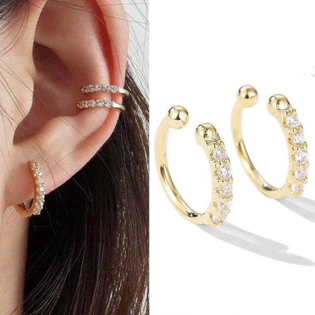 2 pcs bag New Clip on Earrings Crystal Ear Cuff Non Pierced Earring No Without Hole.jpg 640x640 - 2 pcs/bag New Clip on Earrings Crystal Ear Cuff Non Pierced Earring No Without Hole Nose Ring Women Cartilage Earrings Earcuff