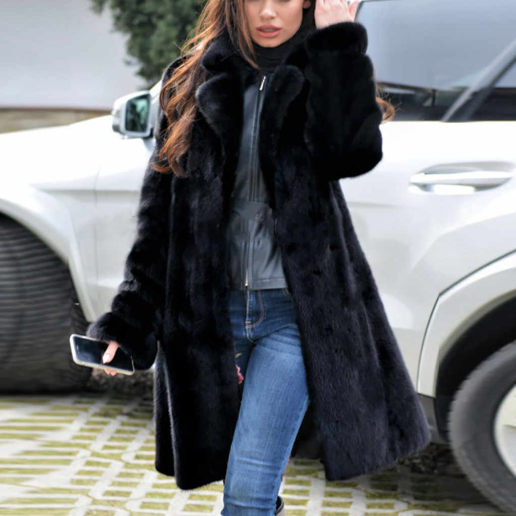 Fur Coat 2019Top Womens Ladies Warm Faux Fur Coat Jacket Winter V-neck Solid Long Outerwear