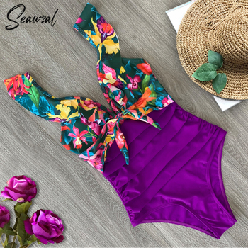 2020 Sexy New Ruffle One Piece Swimsuit Off The Shoulder Swimwear Women Swimsuit Deep-V Bathing Suits Beach Wear Swim Suit 2
