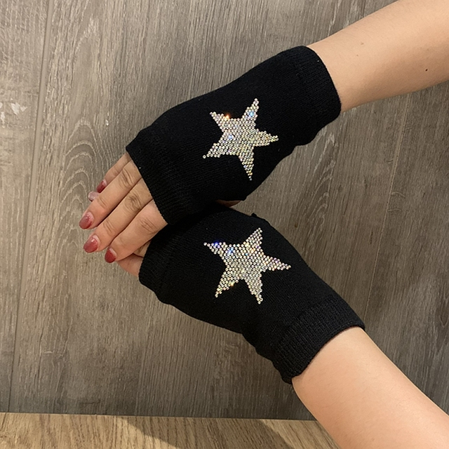 Winter Gloves Women Rhinestone Skull A+ Diamond Crown Half Finger Warm Knitted Black Mittens students Gants Femme 5