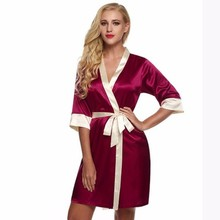 LISN 2019 Ms. Silk  Nightgown Japanese Kimono Cardigan Nightdress Summer Sexy Short Color Matching Ice Pajamas Bathrobe