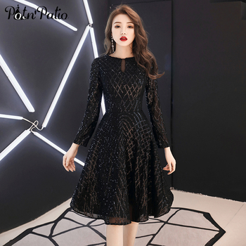 2019 nuevo manga larga vestidos de baile de talla grande elegante lentejuelas negro corto Mujer Semi Formal vestidos para cóctel