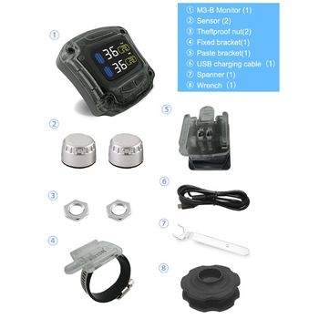 M3-B Wireless Motorcycle TPMS Real Time Tire Pressure Monitoring System Universal 2 External Internal Sensors LCD Display W91F