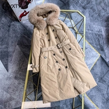 GBYXTY Doubel Breasted Long Down Trench Coat 2019 Winter Women Fox Fur Hooded Thick Goose Down Jacket Overcoat Brand ZA1750