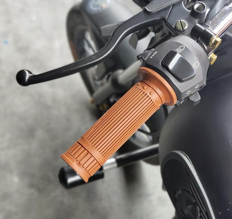 Universal 7/8'' 22MM Vintage Rubber Motorcycle Handle Grips Coffee Motorbike Handlebar Grips