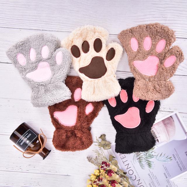 Miękki pluszowy krótki bez palców puszyste niedźwiedzie kot rękawiczki kostium pół palca beżowy kobiety słodki kociak pazur łapa pluszowe rękawiczki ciepłe tanie i dobre opinie Zwierząt DO NADGARSTKA Adult CN (pochodzenie) WOMEN COTTON moda G1001