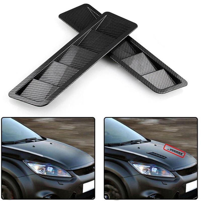 1 Pair Universal Carbon Fiber Style Hood Vents For Vehicles Air Flow Intake Decorative Scoop Bonnet Vent Hood Cover Hood Scoop