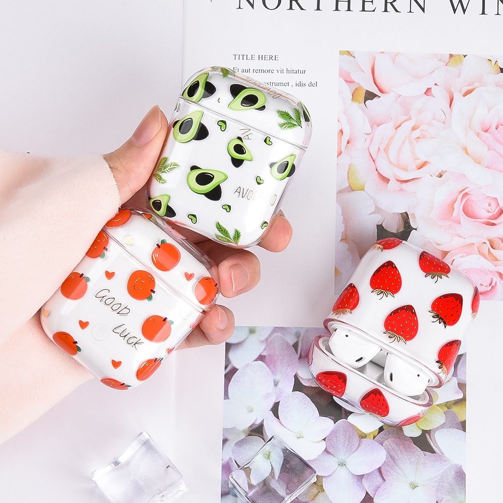 New Arrival Earphone Protective Case For Apple Airpods 2 1 Fruit Pattern Transparent Hard PC Cover For AirPods Case Headset Case