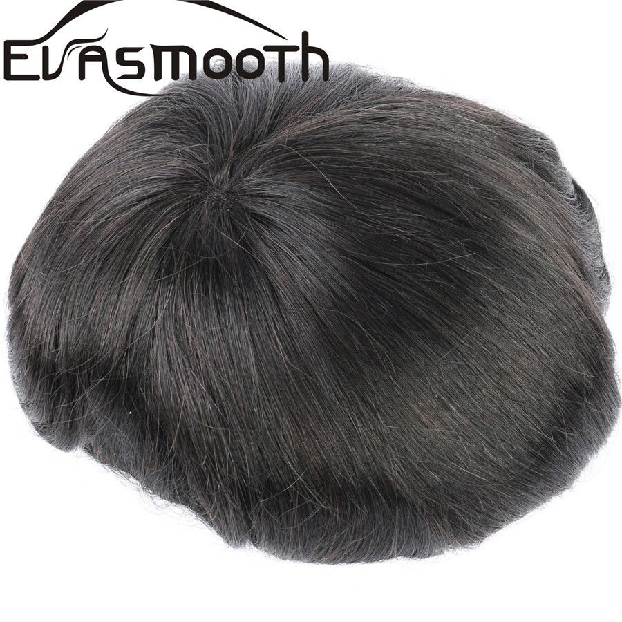 Natural Hair Extensions Indian Hair Male Hair Prosthesis Men Toupee Black Mono Lace & Pu Front Male Wig Hair Replacement For Men