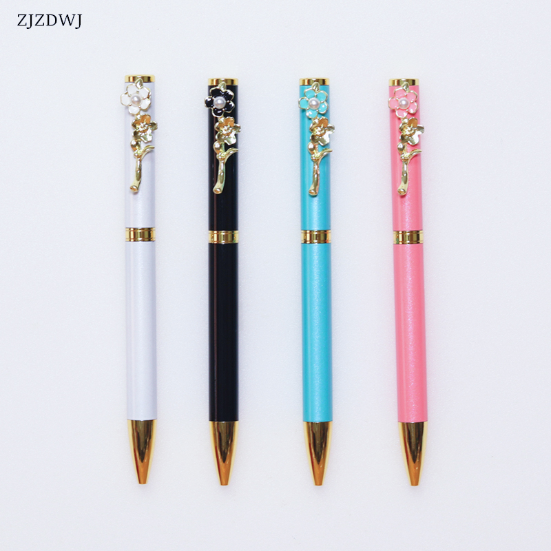 Metal Ballpoint Pen Fashion Pearl Peach Blossom Ballpoint Pen Elegant Flower Shape Signature Pen