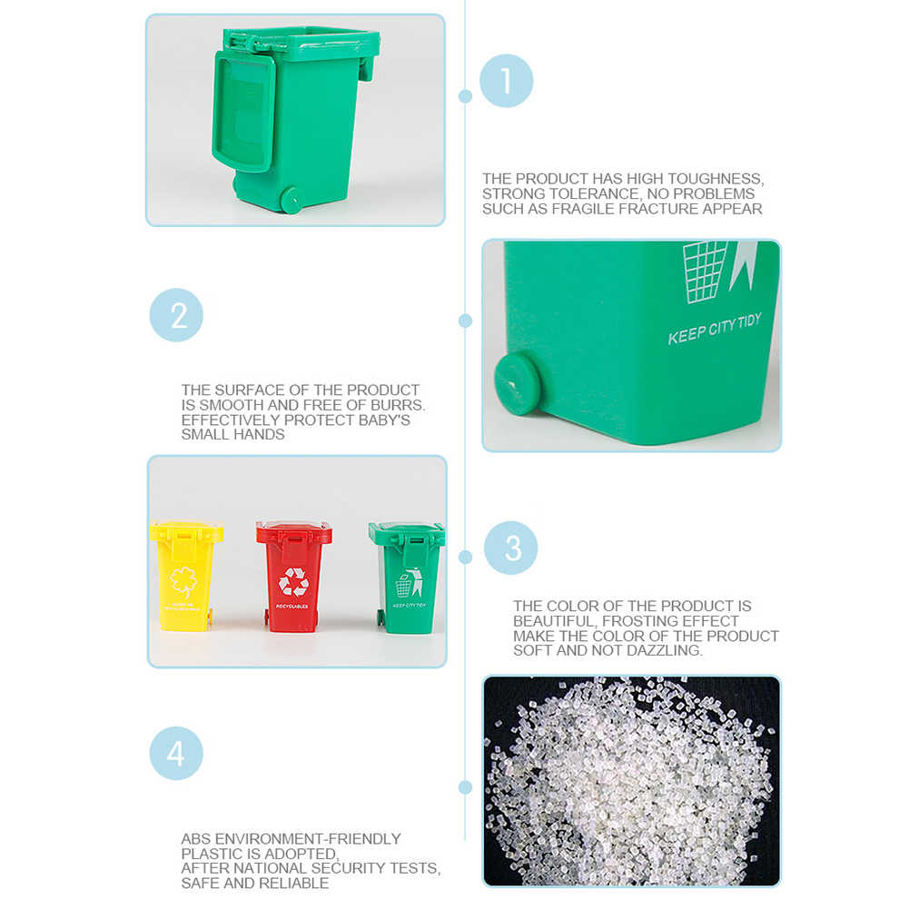 3 Buah/Set Warna Cerah Anak-anak Push Plastik Mainan Kendaraan Sampah Mini Truk Sampah Warna Acak Simulasi Furniture Mainan Hadiah