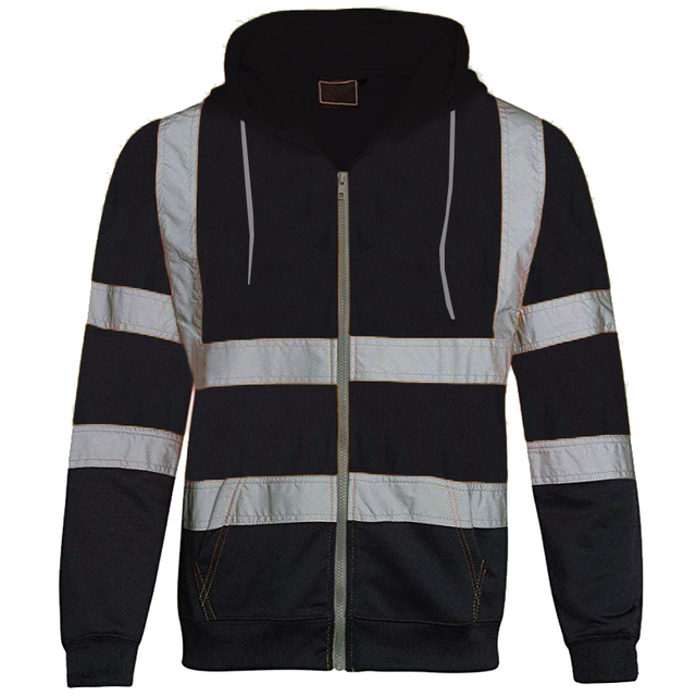 Mans Coat Thin Safety Work clothes Men Patchwork Reflective Stripe Hooded Top Zipper Long Sleeve Men Clothing Trench Coat 6
