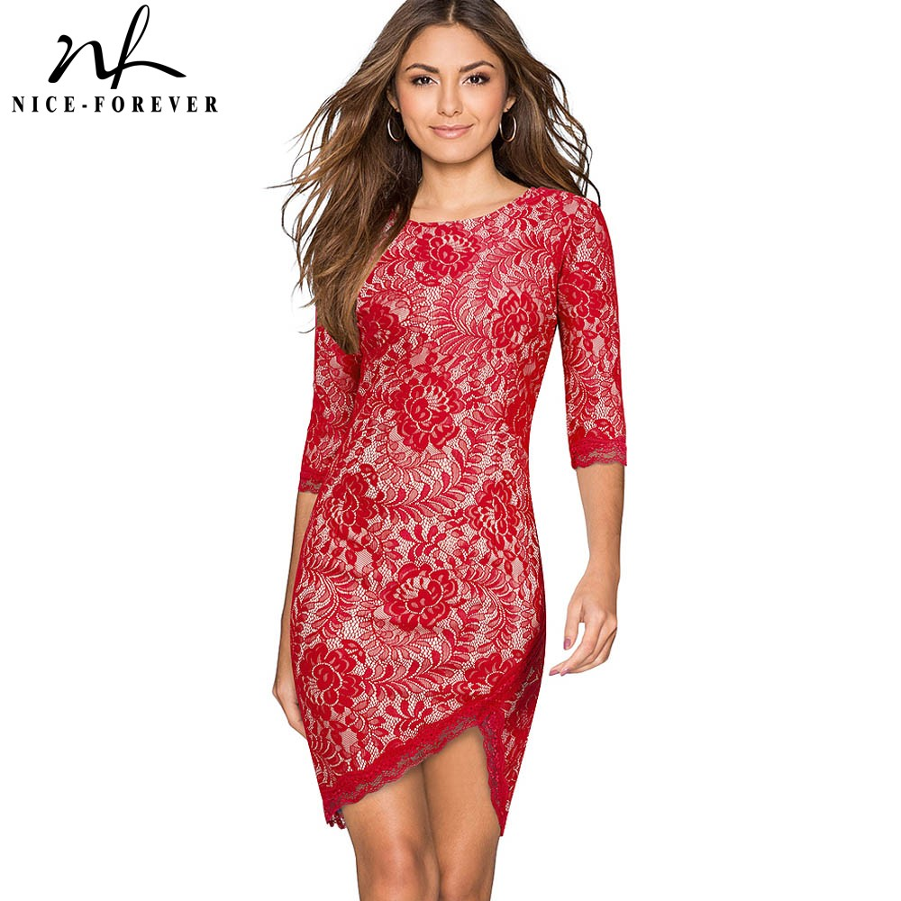 Nice-forever Elegant Lace Irregular Hem Sexy Vestidos Bodycon Slim Party Women Dress BtyB205