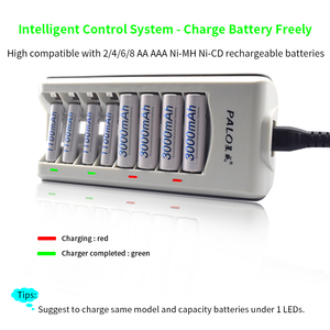 Image 3 - Зарядное устройство PALO 8 слотов AAA AA, зарядное устройство s, светодиодный светильник, умное зарядное устройство для батарей ni mh, aa, aaa, зарядное устройство s, US, EU, UK, AU, быстрое зарядное устройство