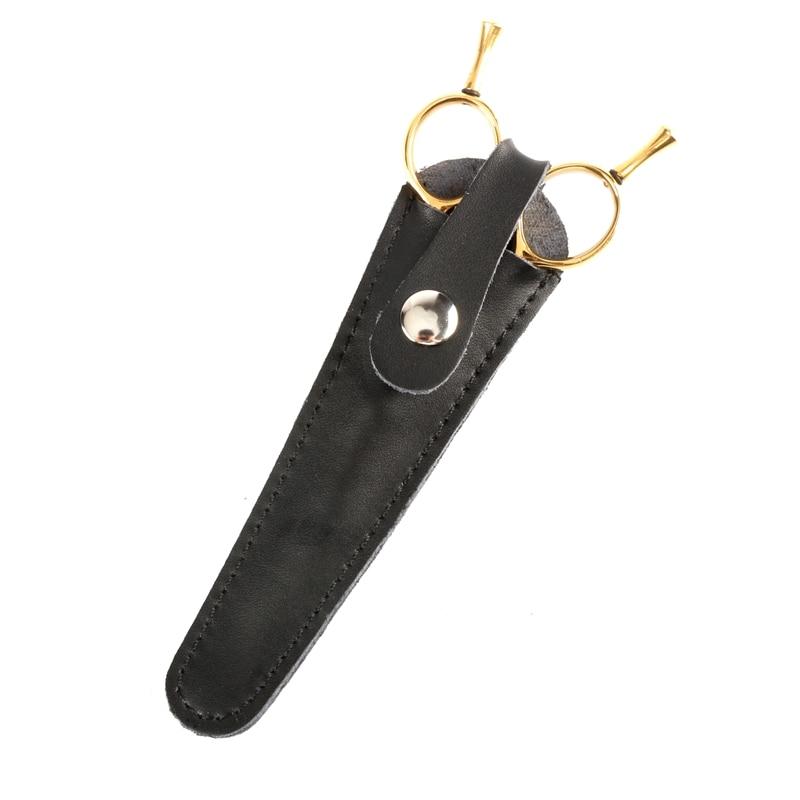 1PCS Leather Hair Scissor Pouch Single Piece Scissor Holder Bag In Cow Leather Durable Use Salon Tools Bag Hair Accessories