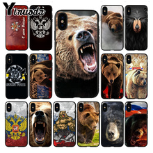 Yinuoda the flag of Russia black bear soft silicone Phone Case for iPhone 7plus 6S 7 8Plus X 5S xr xs max 11 11pro case