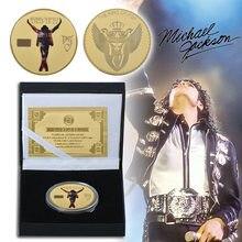 Michael Jackson – pièce commémorative plaquée or, pièce d'or, chanteur Pop des états-unis, articles de musique de collection, cadeau souvenir