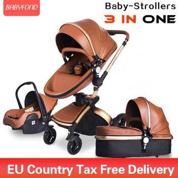 Brand newborn pram Babyfond 3 in 1 Luxury baby stroller PU leather two-way push 360 rotate  baby car
