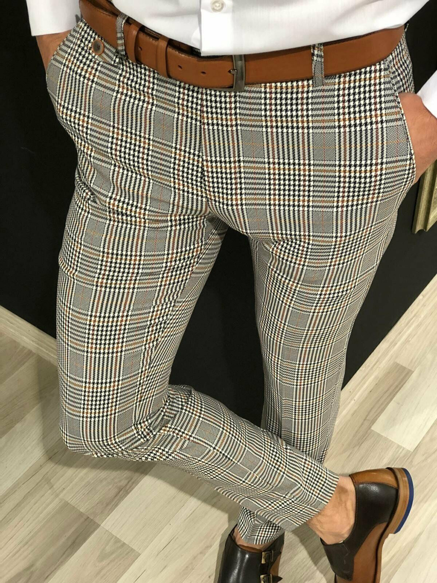 Business Plaid Suit Pants Men Smart Casual Formal Slim Fit Spring Autumn Male Classic Office Ankle Length Pencil Trousers