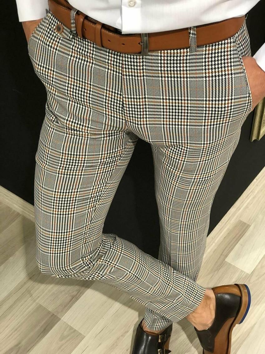 Business Plaid Suit Pants Men Smart Casual Formal Slim Fit Spring Autumn Male Classic Office Ankle Length Pencil Trousers