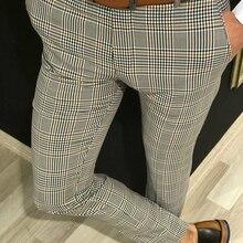 Business Plaid Suit Pants Men Smart Casual Formal Slim Fit S