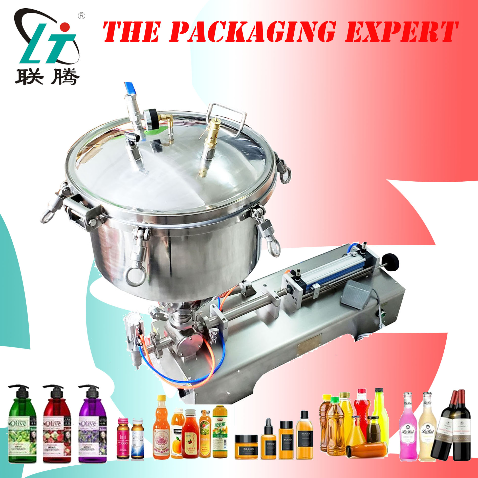 High Viscosity Paste Filling Machine Peanuts Butter Cream Filler With Compression Air Pressure Hopper Free Shipping