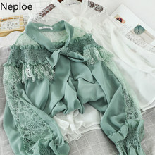 Neploe Spring Summer 2020 Lace Mesh Patchwork Women Blouses Korean Bow Collar Long Sleeve Shirts Elegant Chiffon Tops 80983(China)