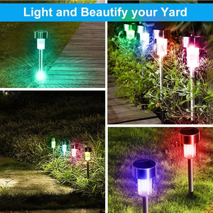 Image 2 - Aimkeeg 10pcs נירוסטה עמיד למים LED שמש אורות דשא חיצוני מנורת שמש גן דקורטיבי שמש בחצר אור