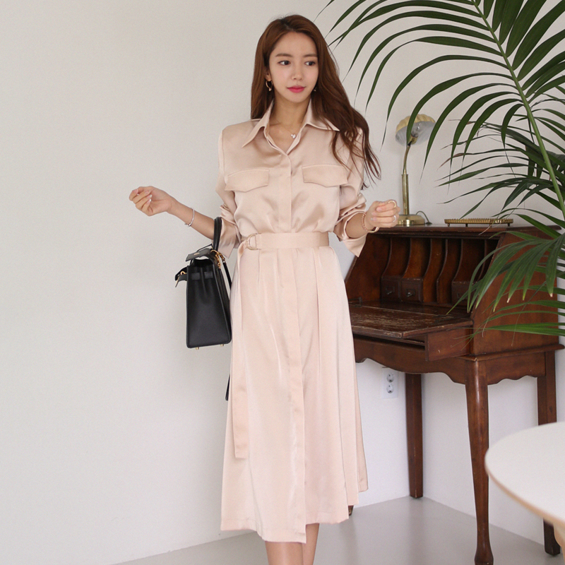 Fashion Women Loose Solid Shirt Dresses With Belt Turn Down Casual Ladies Office Elegant Dresses