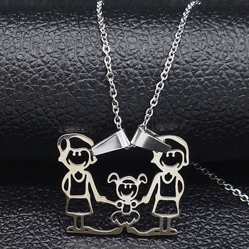 Unisex Family Necklace Jewelry Necklaces Women Jewelry Metal Color: new 2mom 1girl