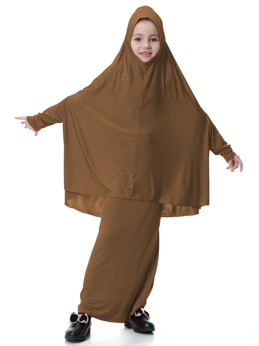 Muslim Girls Dress Kids 2 Pieces Set Abaya Long Hijab Scarf Maxi Skirts Islamic Clothing Arab Prayer garment Jilbab Burqa Kaftan