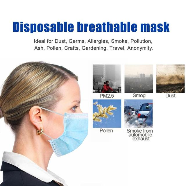 50pcs/100pcs Disposable Masks Anti-fog Dust Mask Blue Nonwove 3 Layer Ply Filter Mouth Mask PM2.5 Protective Face Mask 5