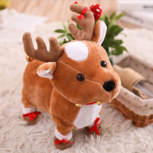 Renos de Navidad juguete de peluche eléctrico caminando lindos renos de peluche juguetes con canto renos juguetes para niños regalo de Navidad