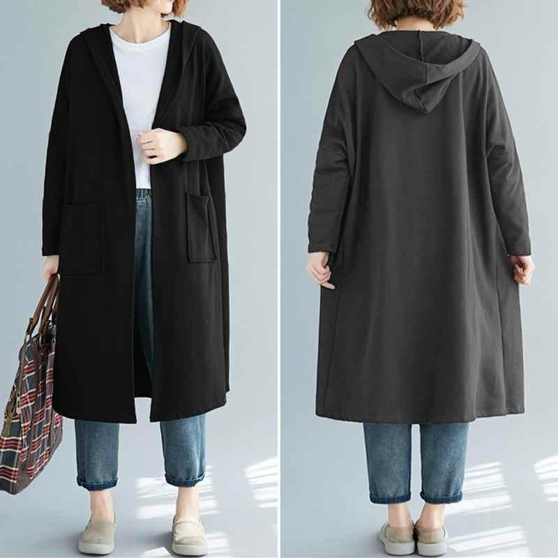 ZANZEA Frauen Solide Hoodies Sweatshirt Damen Casual Vorne Offen Lange Hülse Mit Kapuze SudaderasOutwear Hoodie Sweatshirts Plus Größe