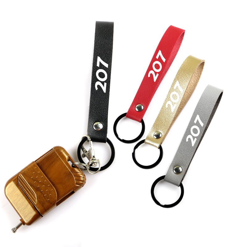 1 piece Car accessories leather metal keychain suppliers for Peugeot <font><b>207</b></font> 406 407 408 auto car keyring image