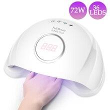 72 Вт УФ светодиодная лампа для сушки ногтей 36 светодиодов Лампа для лечения всех гель-лаков Авто зондирующая машина маникюр Дизайн ногтей салонный инструмент BESUN5SPLUS