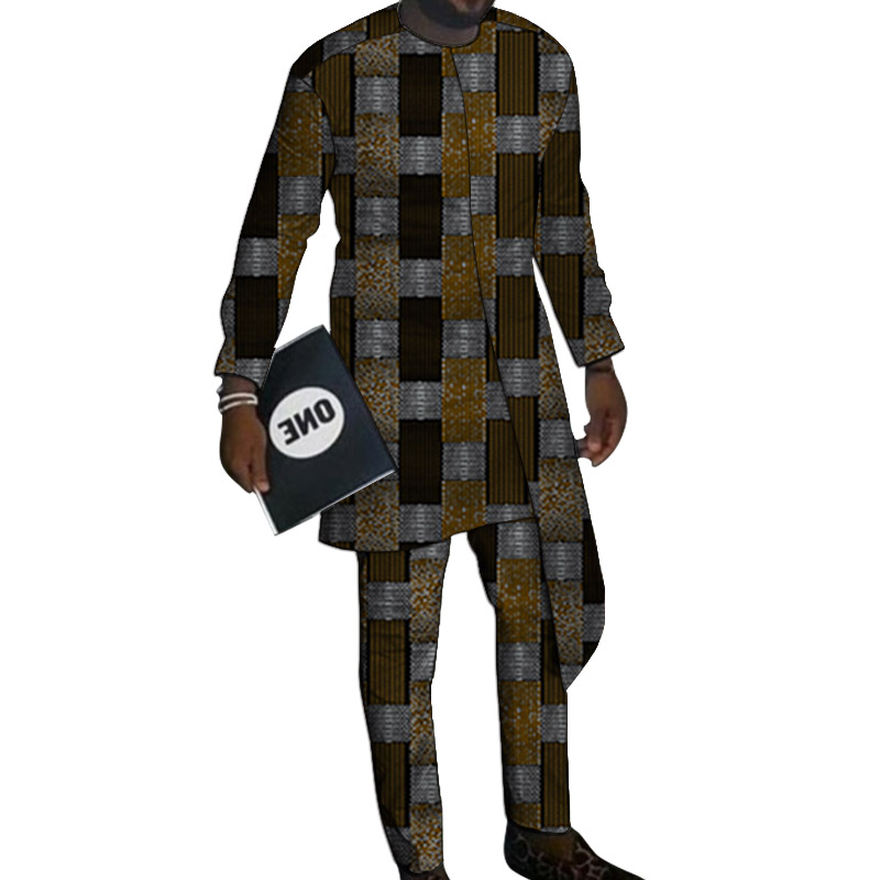 Layering Design Shirts With Trousers Custom Made Pant Sets Fashion Men Groom Suits Dashiki Print Outfits African Party Clothes