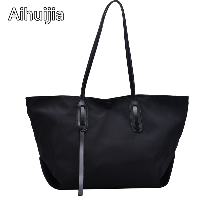 Новинка 2020, Женская Повседневная однотонная сумка через плечо, многоразовая женская сумка для путешествий, отдыха, шоппинга, нейлоновые женские сумки высокой емкости|Сумки с ручками|   | АлиЭкспресс