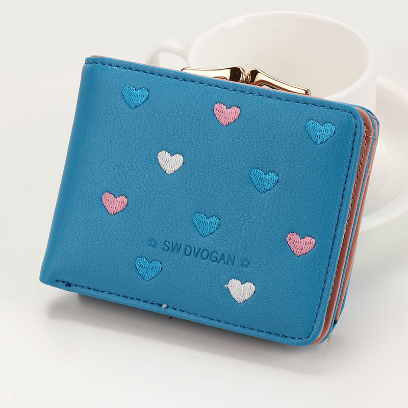 Japanese Multi-function Women's Mini Wallet Candy Color Heart-shaped Embroidery Women Short Wallet Cute Coin Purse Card Package - Цвет: Blue