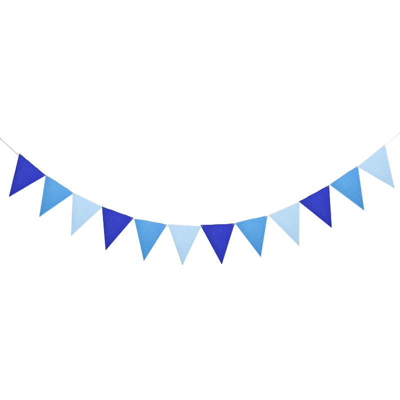 Fashion 4M 12 flags Blue Fabric Flags Banners Bunting Pennant Banner Baby Shower Garlands for Birthday Party Wedding Decoration