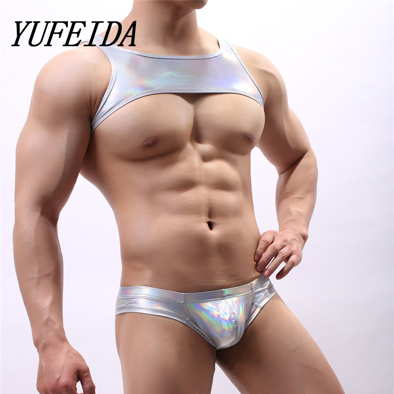 Man Shoulder Strap Crop Top PU Leather Men Strong Muscle Chest Harness Bodybuilding Tops Mens Stage Costume Gay Exotic Tanks
