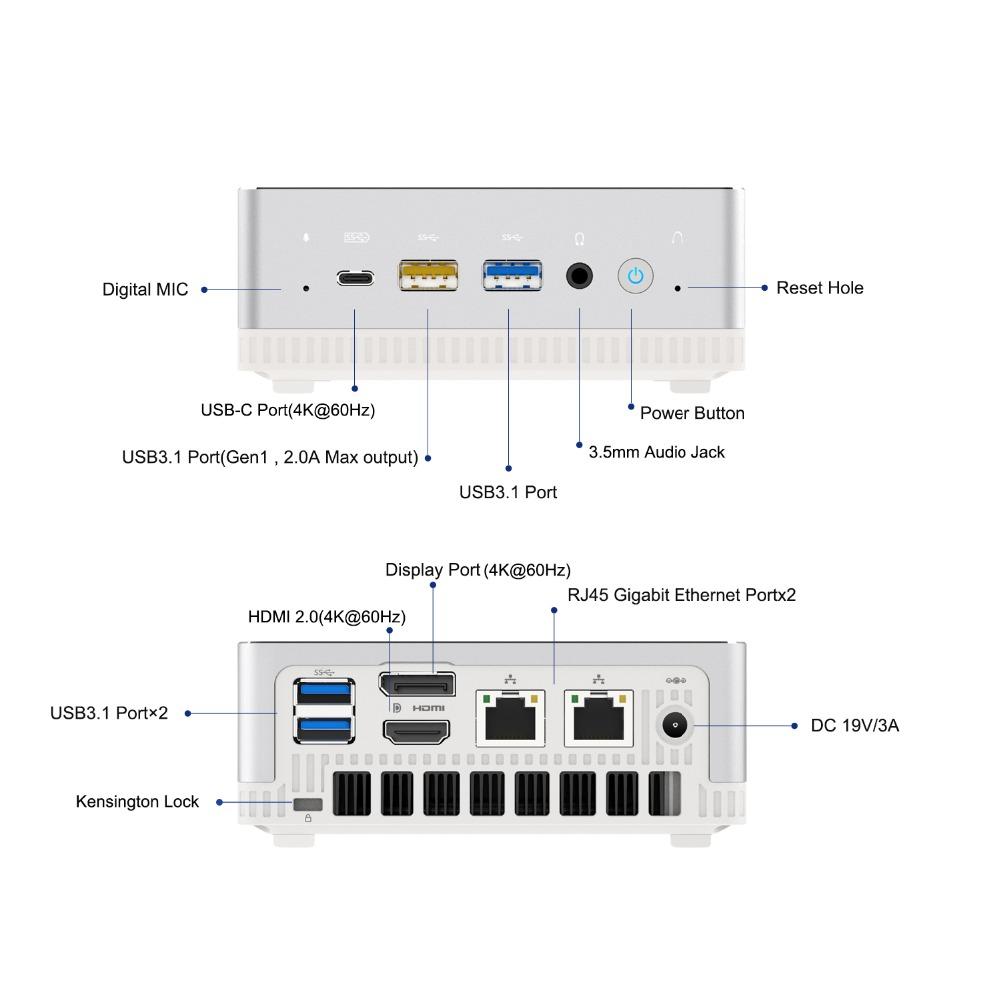 HDMI//DP//USB-C 4K@60Hz Output 2X RJ45 Port 4X USB3.1 Port DDR4 16GB RAM+512GB SSD Radeon Vega 8 Graphics UM250 Mini PC AMD Ryzen 5 PRO 2500U 4C//8T Windows 10 Pro Mini Computer WIFI6 AX200 BT5.1