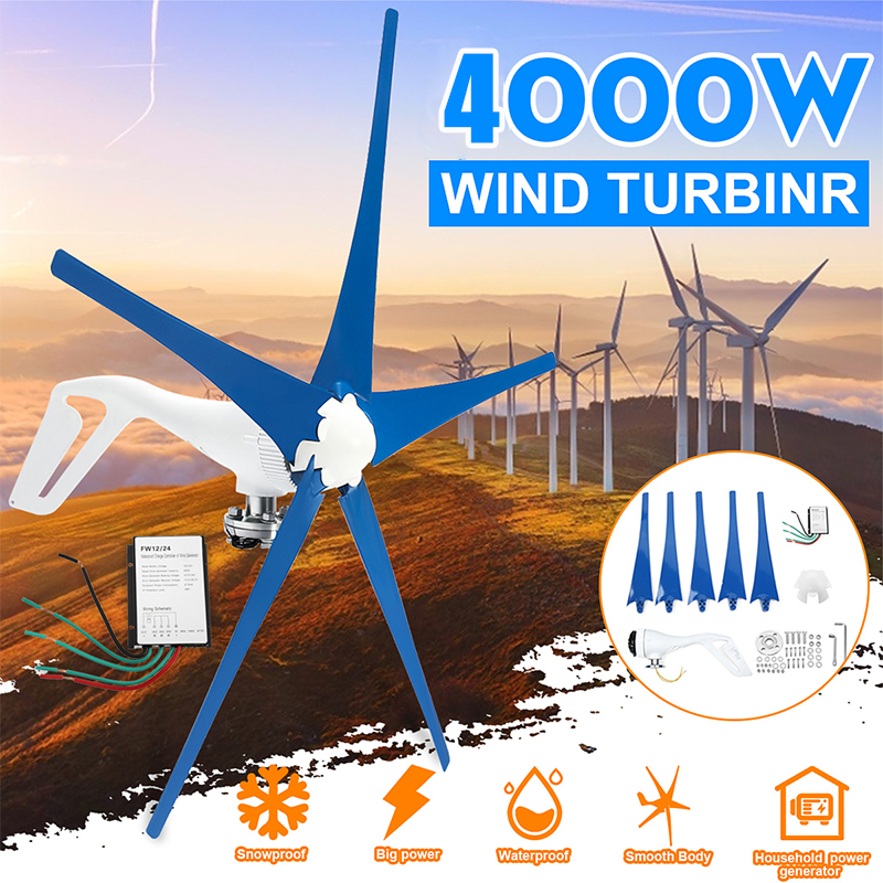 Hot Wind Turbines Generator 4000W 12V/24V 5 Blades Horizontal Wind Generator With Controller Windmill Energy Turbines Charge