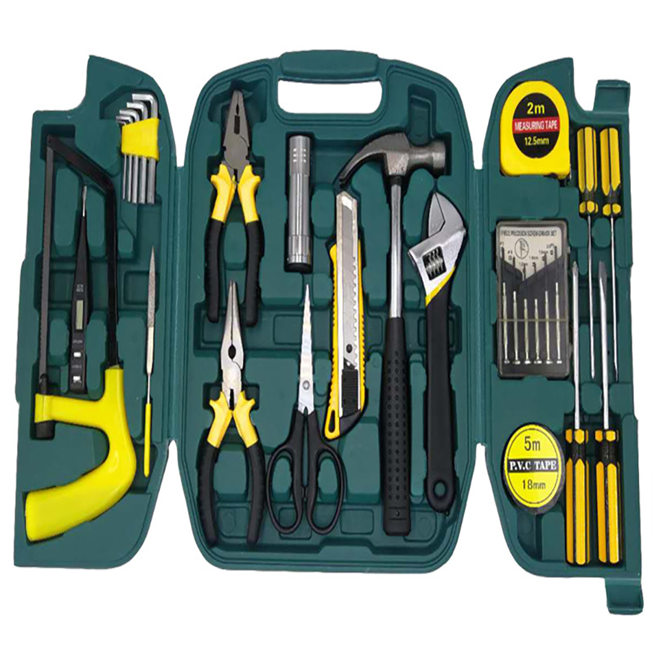 27pcs Repair Tools Set knife kit in a suitcase for home hand tool boxes instruments Screwdriver Wrench Set Woodworking Tool