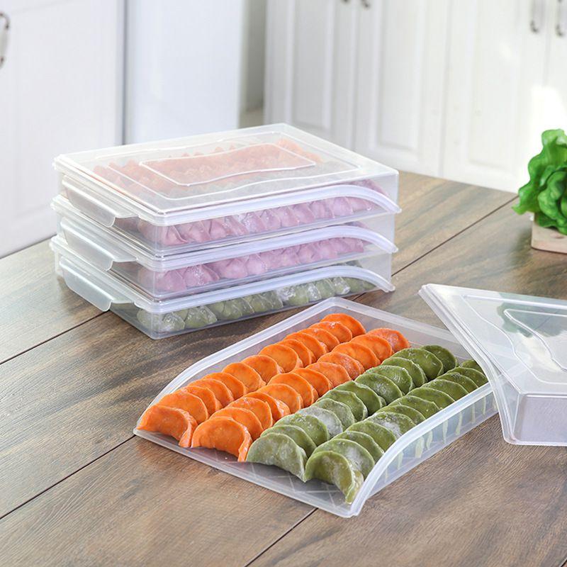 Transparante Knoedel Opbergvak Home Keuken Organizer Voor Bevroren Knoedel Doos Koelkast Vers Houden Voedsel Vriezer Boxeshw-in Opslag bladen van Huis & Tuin op title=