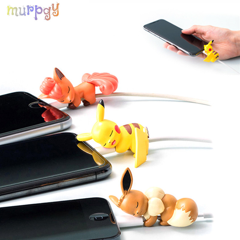 1pcs Cable Bites Protector For Apple Iphone Cute Cartoon Animal Phone Holder Charging Stress Accessory Doll Kids Toy